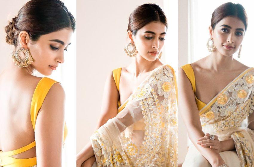 Pooja Hegde lemon yellow saree pics gone viral…