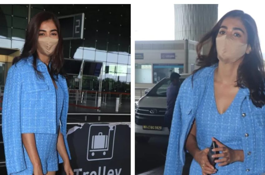 #PoojaHegde lands in Chennai for #Vijay's #Beast shoot. See pics from airport