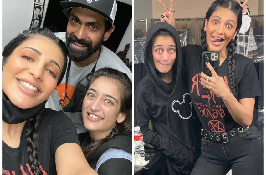 Akshara Haasan on the sets of mega mystery project of Shruti Haasan and Rana Daggubati!!!