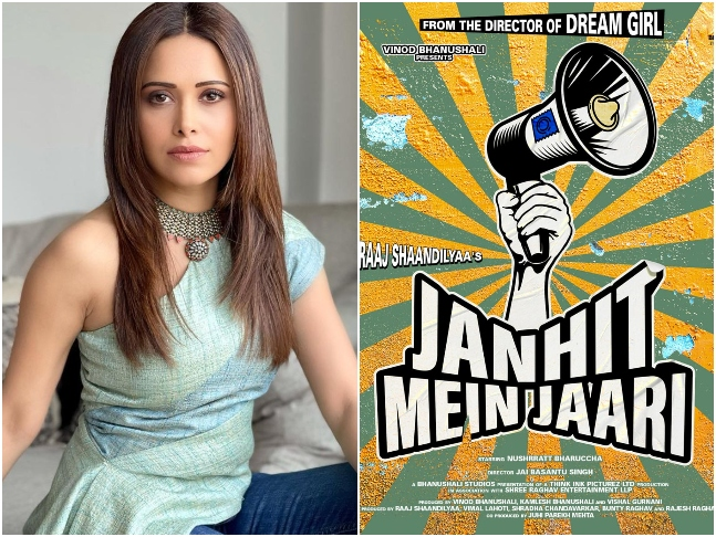 #Bollywood actress Nushrratt Bharuccha shared a motion poster of her upcoming film 'Janhit Mein Jaari'…