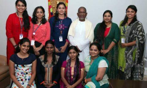 Ilayaraja with students